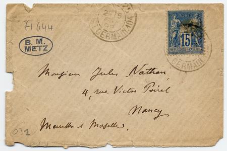 Enveloppe adressée à Jules Nathan