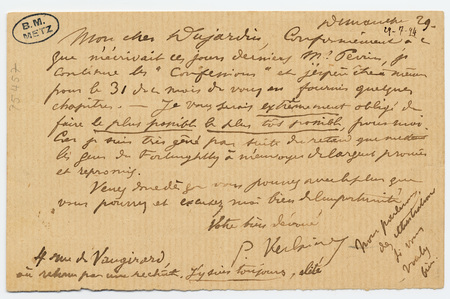 Lettre autographe signée à Edouard Dujardin