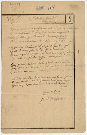 """Varia ou Invectives. """"A Catulle Mendès"""", poème"""