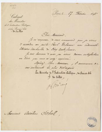 Lettre signée de Raymond Poincaré, ministre de l'Instruction publique, des…