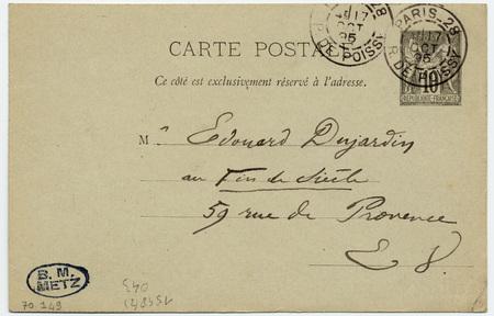 Carte postale autographe signée à Edouard Dujardin