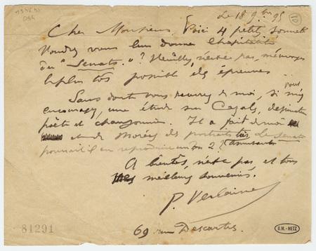 Lettre autographe signée à M. Cranmer-Bying, directeur de la revue anglais…