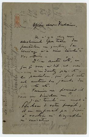 Liste autographe des vers que devaient comporter les recueils Parallèlemen…