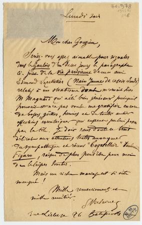 Lettre autographe signée à Armand Gouzien