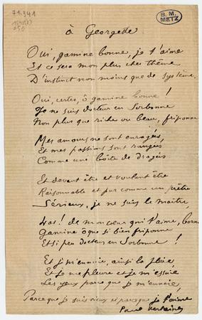 """""""A Georgette"""", poème non daté"""