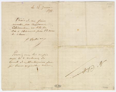 Lettre autographe signée à M. Chiffemann