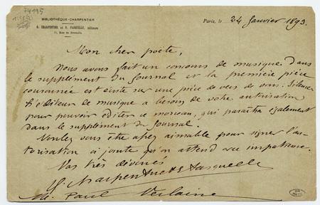 Lettre manuscrite signée G. Charpentier et E. Fasquelle