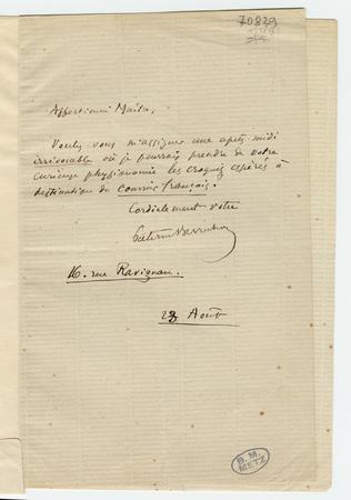 Lettre autographe signée de Paterne Berrichon avec enveloppe timbrée et es…