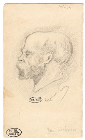Portrait de Paul Verlaine, tête de profil