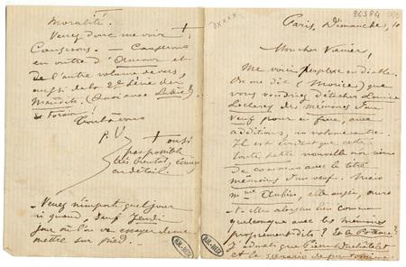 Lettre autographe signée à Léon Vanier