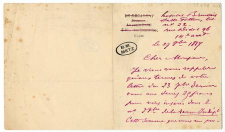 Lettre autographe signée à un éditeur ou directeur de journal