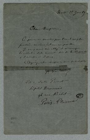 Lettre autographe signée à un éditeur