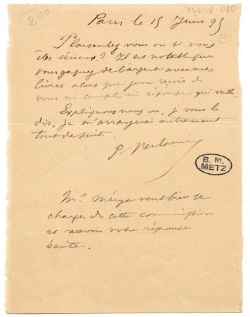 Lettre autographe signée à un éditeur. [Savine ?]