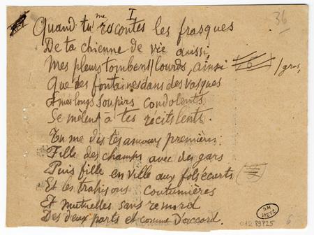 """""""Quand tu me racontes les frasques"""", poème autographe signé"""