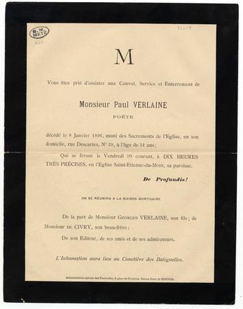 Lettre d'invitation de la part de Georges Verlaine, son fils, et monsieur …