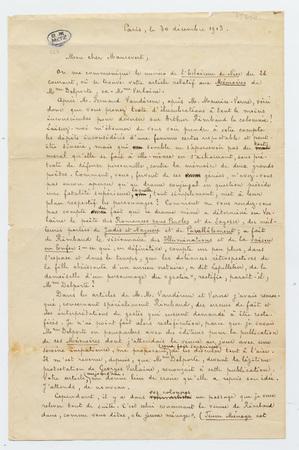 Lettre signée de Paterne Berrichon à Maurevert