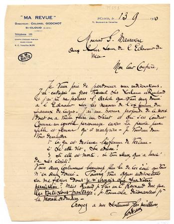 """Lettre autographe signée du colonel Godchot, directeur de """"Ma revue"""", à Ma…"""