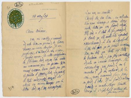Lettre autographe signée de […] à Rachilde