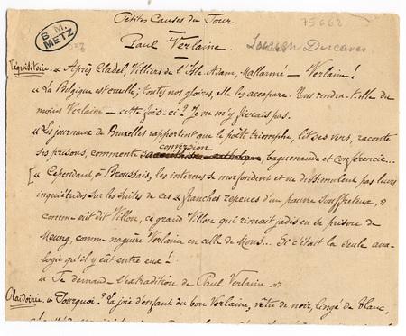 """Lucien Descaves. """"Petites causes du jour"""", texte sur Paul Verlaine"""