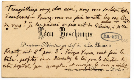 Lettre autographe signée de Léon Deschamps
