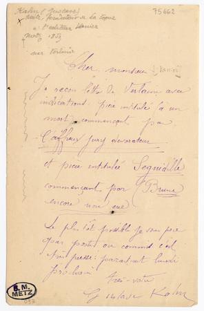 Lettre autographe signée de Gustave Kahn à Léon Vanier