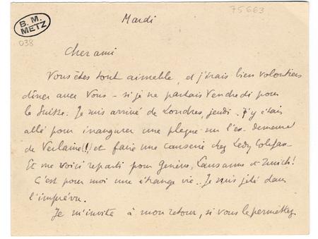 Lettre autographe signée de Paul Valéry à un ami