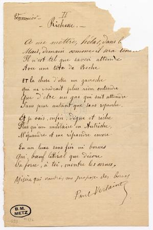 """""""Richesse"""", poème autographe signé"""