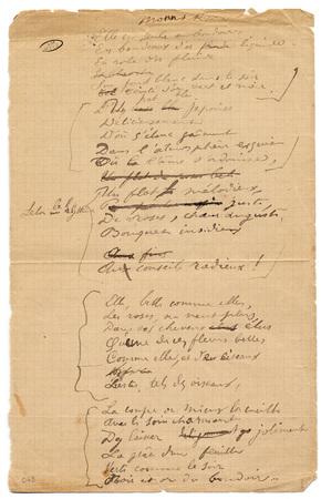 """""""Monna Rosa"""", poème autographe signé"""