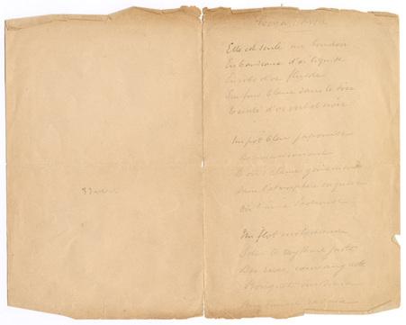 """""""Monna Rosa"""", poème autographe"""