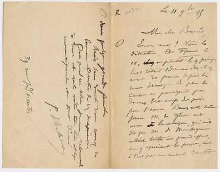 Lettre autographe à M. Barrès signée par Verlaine