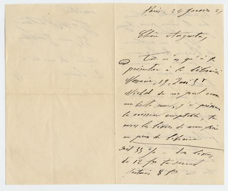 Lettre autographe signée de Georges Verlaine à sa belle-soeur Augusta Mali…