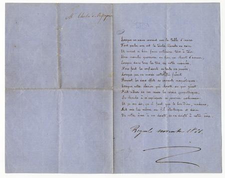 """""""Lorsque vos mains courant sur la table d'ivoire [...]"""", poème manuscrit, …"""