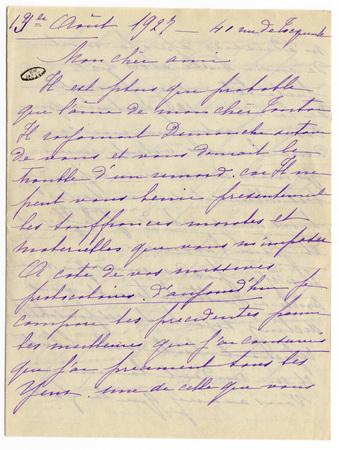3 lettres d'Augusta Delporte adressées à un ami