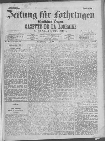 Zeitung für Lothringen: Amtliches Organ