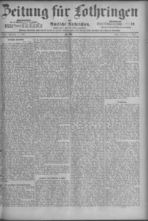 Zeitung für Lothringen: Amtliche Nachrichten