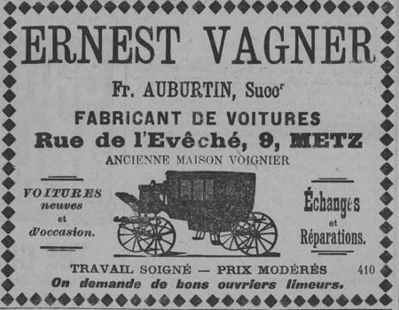 Ernest Wagner, fabricant de voitures, voitures neuves et d'occasion