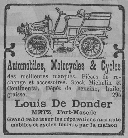 Automobiles, motocycles & cycles, Louis de Donder