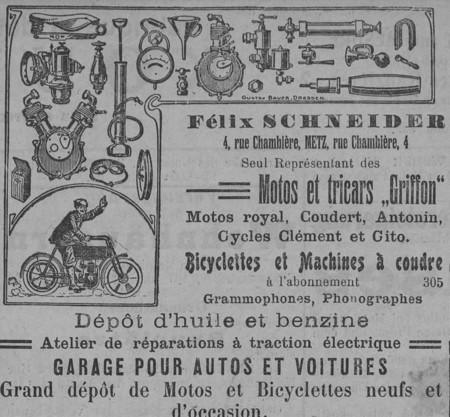 Félix Schneider, seul représentant des motos et tricars Griffon, garage po…