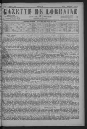 Gazette de Lorraine et nouvelles d'Alsace