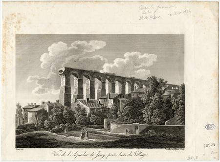 Vue de l'aqueduc de Jouy prise hors du village