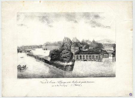 Vue de la Tuerie Saint Georges et du moulin des Quatre-Tournants, prise du…