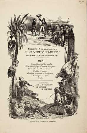 """Société Archéologique """"Le Vieux Papier"""" – 77e Dîner – Mardi 24 Octobre 1911"""