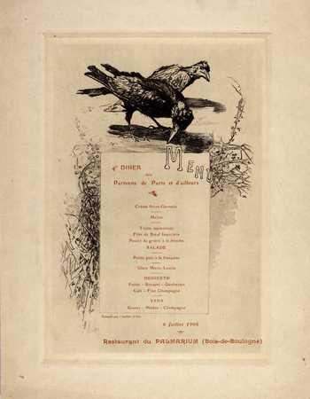 Menu - 4e Dîner des Parisiens de Paris et d'ailleurs – 6 Juillet 1906