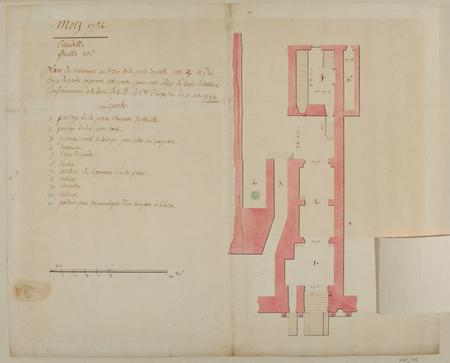 Plan de bâtiment et au-dessus de la Porte Royale et du corps de garde joig…