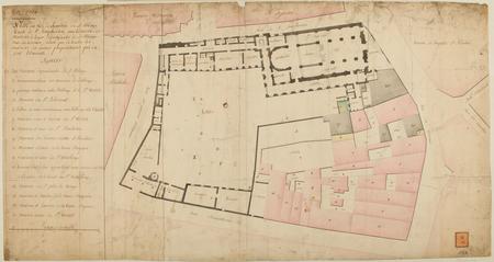Metz 1768 - Plan au Rez-de-Chaussée de l'Abbaye Royale de Saint Simphorien…