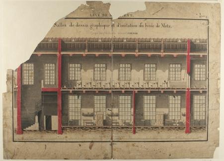 Salles de dessin graphique et d'imitation du Lycée de Metz : coupe longitu…
