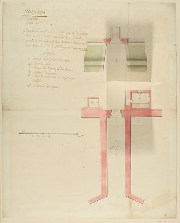 Plan de la porte de secours et du passage voûté sous le cavalier, avec son…