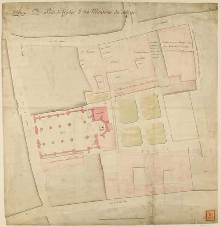 Metz 1768 : plan de l'église et des maisons du Collège
