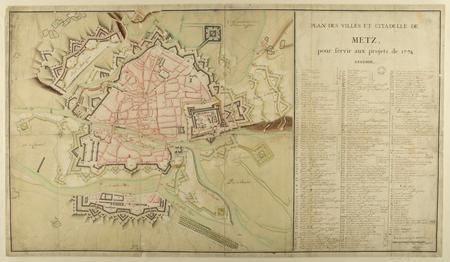 Plan des ville et citadelle de Metz, pour servir aux projets de 1774