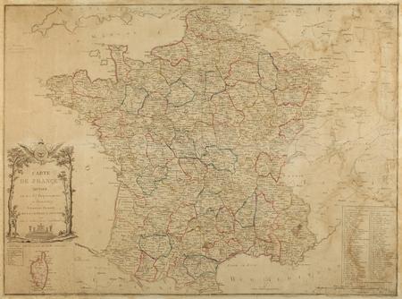 Carte de France divisée en ses 83 départements et districts suivant les dé…